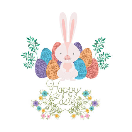 happy easter label with egg and flowers icon vector illustration desing Stock Illustratie