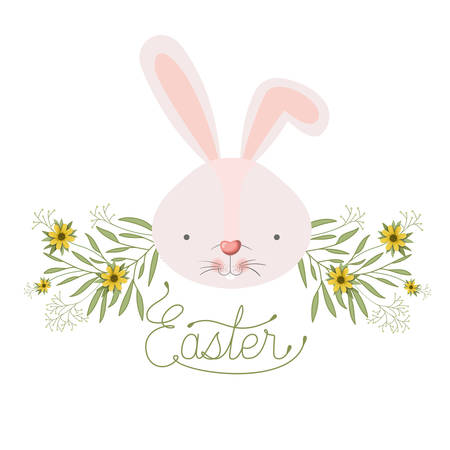 easter label with rabbit head isolated icon vector illustration desing