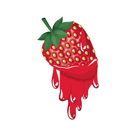 strawberry dripping icon vector illustration desing
