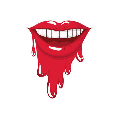 female mouth dripping isolated icon vector illustration design