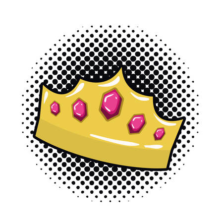 golden crown pop art icon vector illustration design