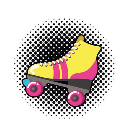 Diseño de ilustración de vector de icono de arte pop de patines