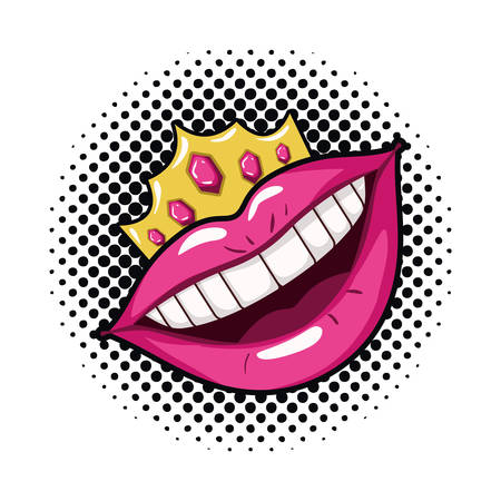 female mouth pop art style isolated icon vector illustration design