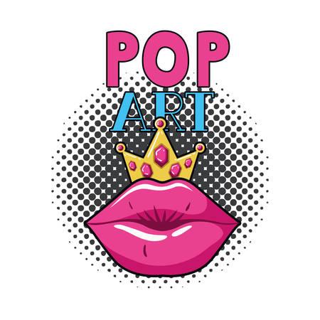 female lips pop art style isolated icon vector illustration design Ilustração