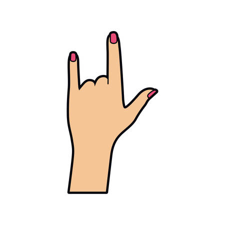 hand with sign rock pop art vector illustration desing