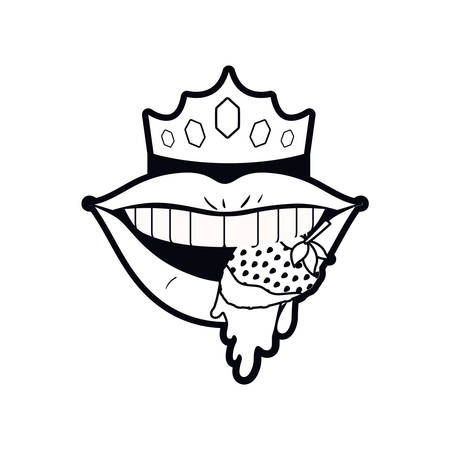 female mouth dripping with strawberry fruit vector illustration design