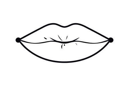 Lèvres féminines style pop art icône isolé design d'illustration vectorielle