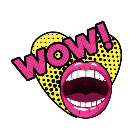 female mouth with speech bubble isolated icon vector illustration design