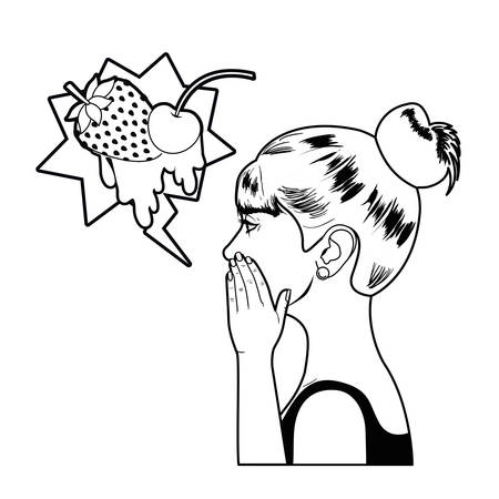 woman telling a secret with speech bubble vector illustration desing