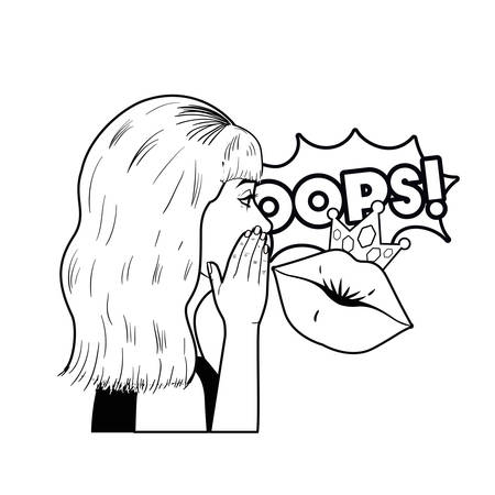 woman telling a secret with speech bubble vector illustration desing
