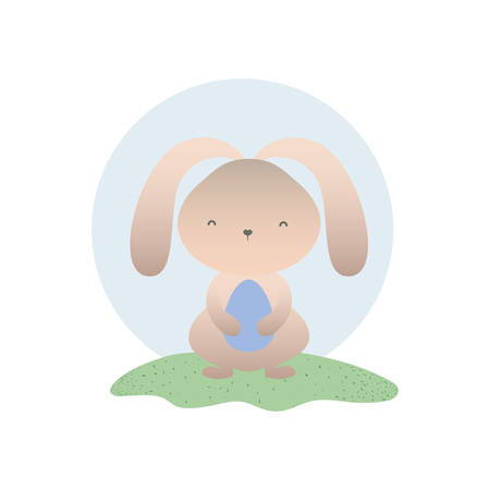 easter rabbit with egg isolated icon vector illustration desing Illustration