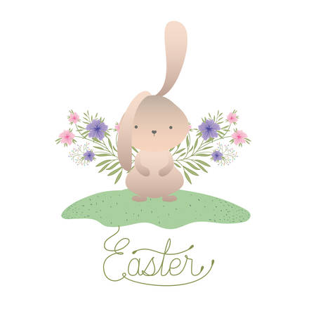 easter label with egg and flowers icon vector illustration desing