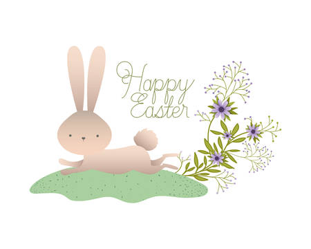 happy easter label with flowers icon vector illustration desing