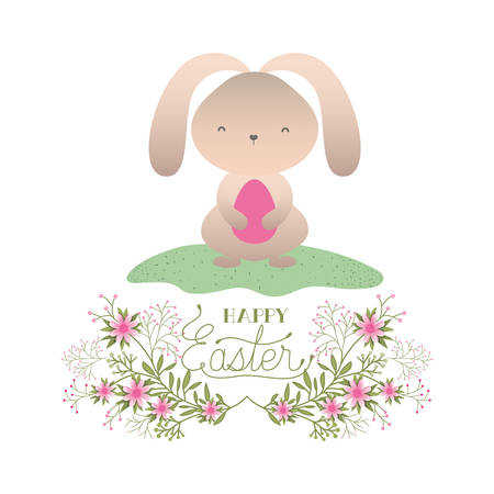 happy easter label with egg and flowers icon vector illustration desing Illustration