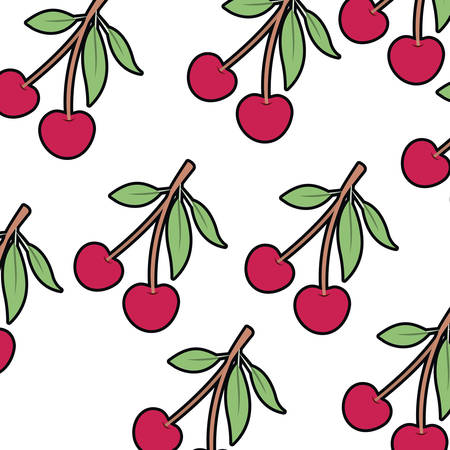 pattern of cherry isolated icon vector illustration desing