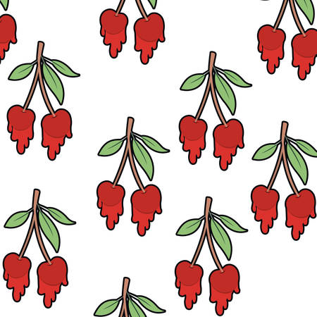 pattern cherry dripping isolated icon vector illustration desing