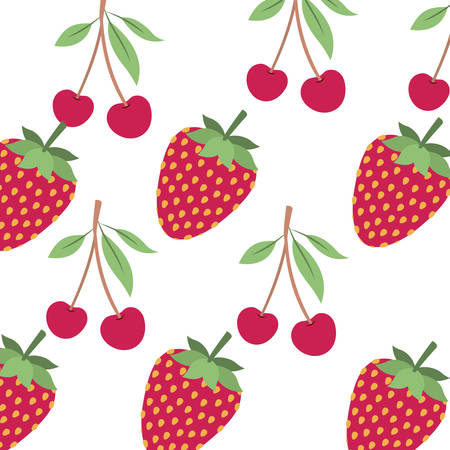 pattern cherry and strawberry vector illustration desing