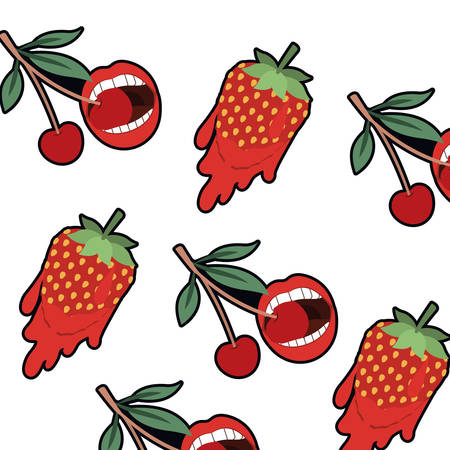 pattern cherry and strawberry with dripping vector illustration desing  イラスト・ベクター素材