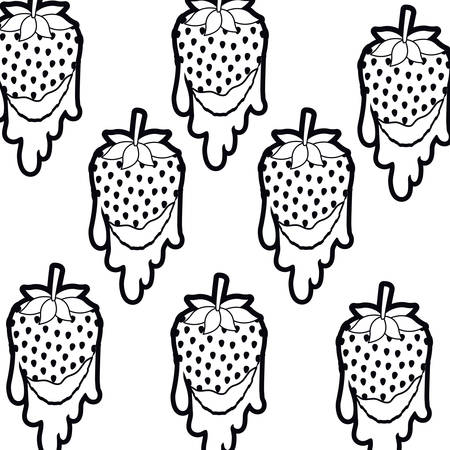 pattern strawberry dripping isolated icon vector illustration desing