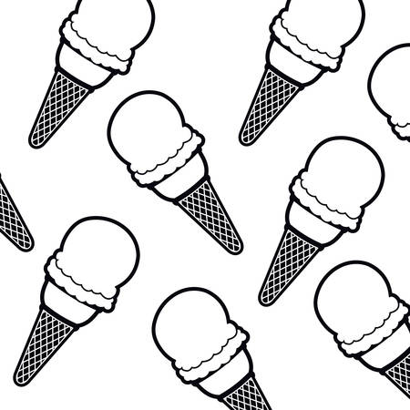 pattern ice cream pop art vector illustration desing