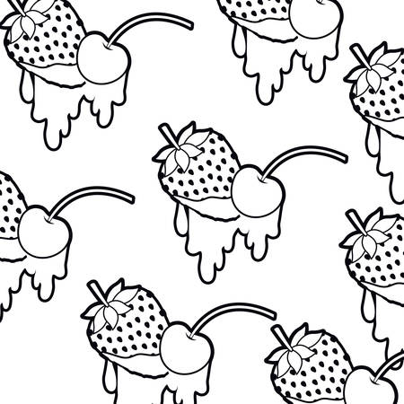 pattern cherry and strawberry with dripping vector illustration desing Illustration