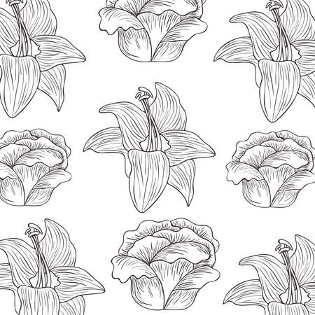 pattern flowers and leafs isolated icon vector illustration desing  イラスト・ベクター素材