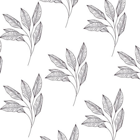 pattern flowers and leafs isolated icon vector illustration desing Çizim