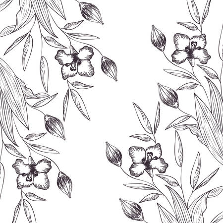 pattern flowers and leafs isolated icon vector illustration desing Illustration