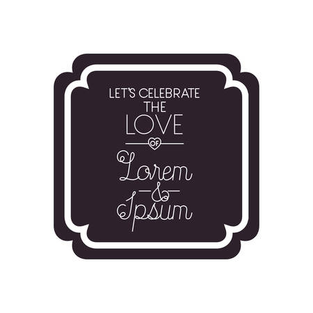 wedding invitation in frame isolated icon vector illustration design