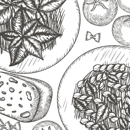 pattern of delicious italian food vector illustration desing