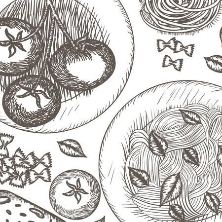 Patrón de delicioso diseño de ilustración de vector de comida italiana Ilustración de vector