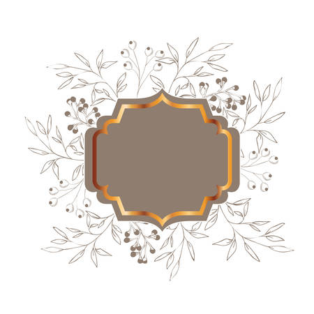 frame with plants and herbs isolated icon vector illustration desing