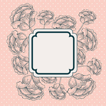 roses flowers decorative square frame vector illustration design