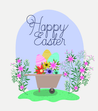 happy easter card with eggs and flowers in wheelbarrow vector illustration design