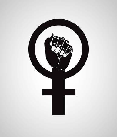 hand fist with female gender symbol vector illustration design
