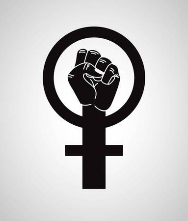 hand fist with female gender symbol vector illustration design Vetores
