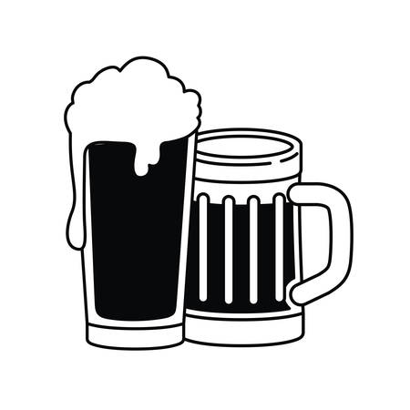 beer with foam isolated icon vector illustration design Ilustrace