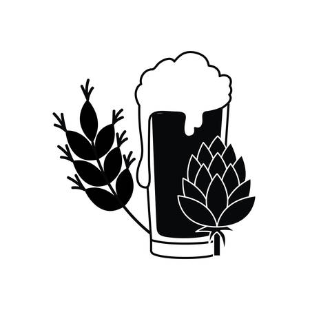 beer with foam and wheat isolated icon vector illustration design