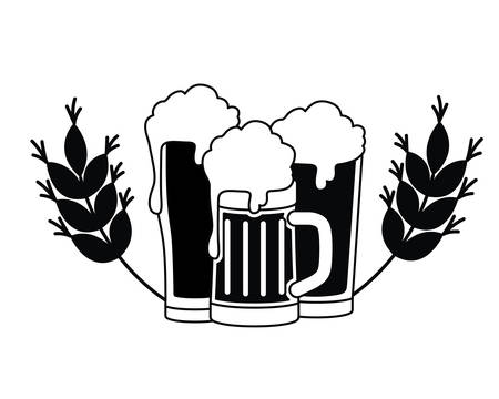 beer with foam and wheat isolated icon vector illustration design 向量圖像