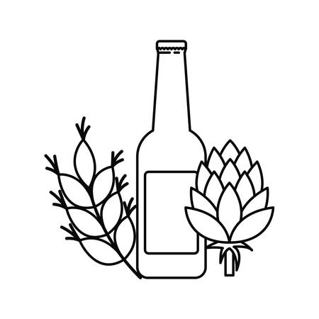 Beer bottle and wheat isolated Ilustração