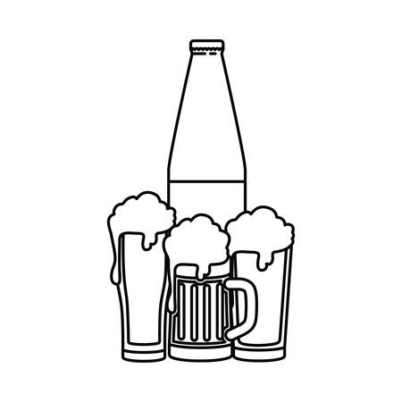Beer bottle and glass isolated