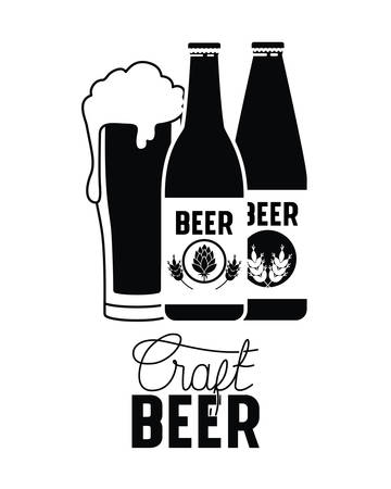 Cold craft beer label isolated