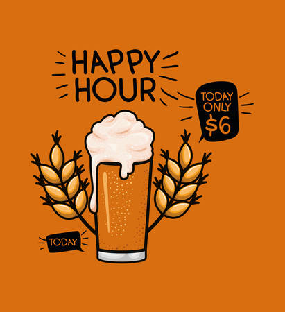 happy hour beers label with glass and leafs vector illustration design Illustration