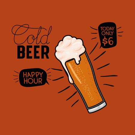 happy hour beers label with glass vector illustration design Illustration