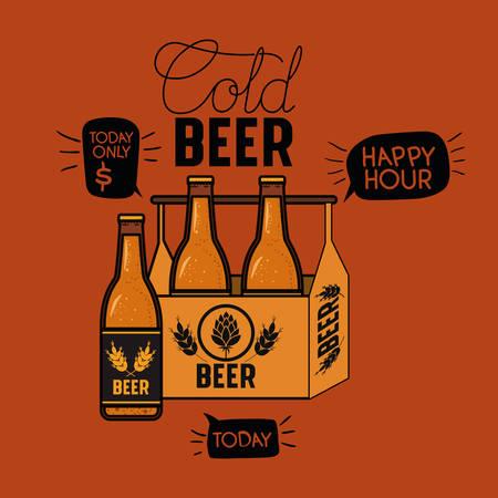 happy hour beers label with bottles in basket vector illustration design