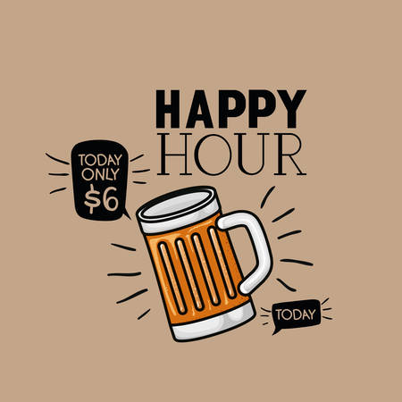 happy hour beers label with jar vector illustration design