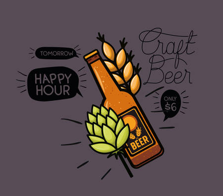 happy hour beers label with bottle and leafs vector illustration design Illustration