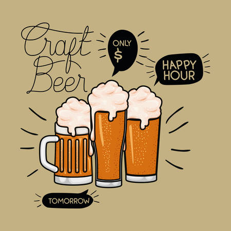happy hour beers label with jar and glasses vector illustration design Illustration