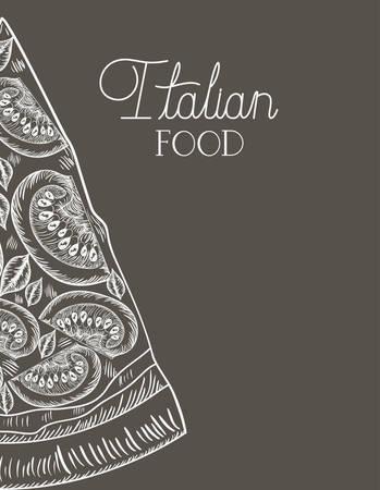 italian pizza portion hand drawn italian food vector illustration design