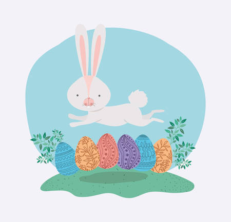 cute rabbit with eggs painted and leafs in the garden vector illustration design Standard-Bild - 118727381